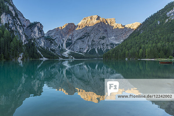 Scenic view of Croda del Becco (Seekofel) reflected in Braies Lake (Lago di Braies) in the Bolzano Province (South Tyrol) Dolomites  Italy