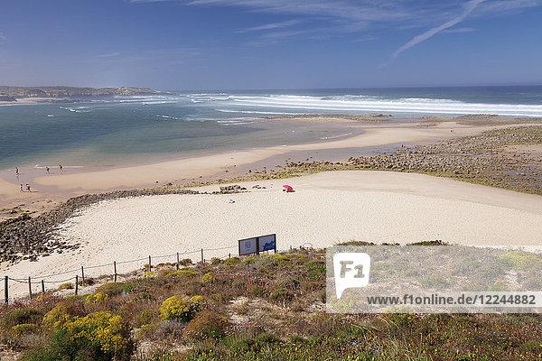 Beach at Rio Mira River  Vila Nova de Milfontes  Atlantic Ocean  Costa Alentejana  Alentejo  Portugal  Europe