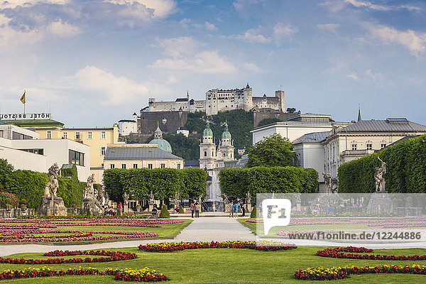 View of Hohensalzburg Castle from Mirabell Gardens  UNESCO World Heritage Site  Salzburg  Austria  Europe