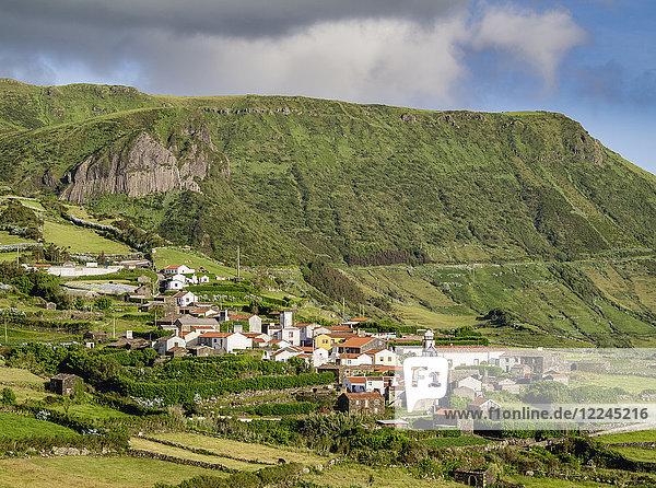 View towards Mosteiro Village and Rocha dos Bordoes  Flores Island  Azores  Portugal  Atlantic  Europe