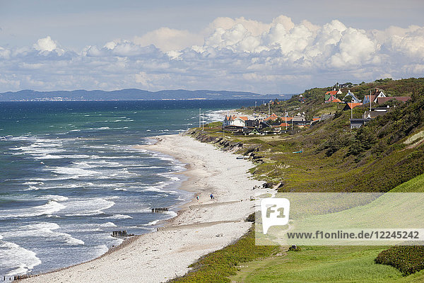 View over Rageleje Strand beach with Swedish coastline in distance  Rageleje  Kattegat Coast  Zealand  Denmark  Scandinavia  Europe