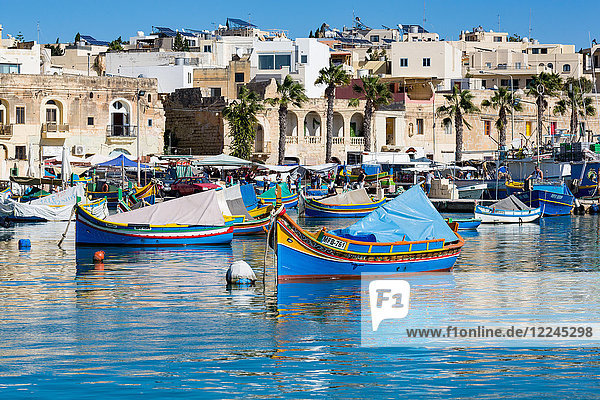 Traditional brightly painted fishing boats in the harbour at Marsaxlokk  Malta  Mediterranean  Europe