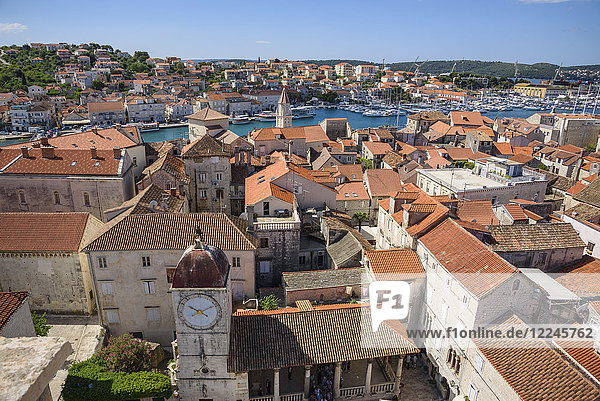View from the bell tower  Cathedral of St. Lawrence  Trogir Old Town  UNESCO World Heritage Site  Croatia  Europe