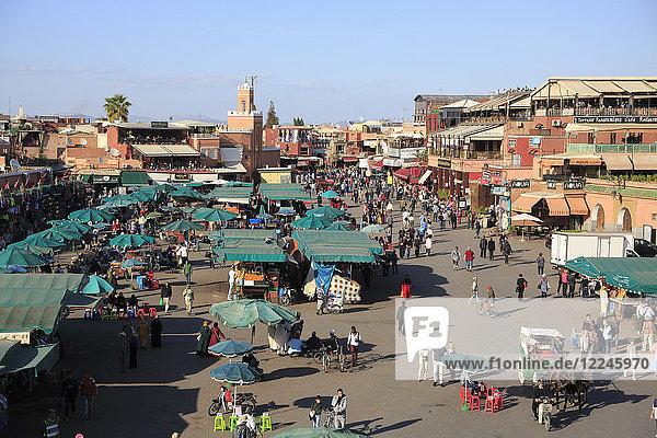 Jemaa el Fna (Djemaa el Fnaa) Square  UNESCO World Heritage Site  Marrakesh (Marrakech)  Morocco  North Africa  Africa