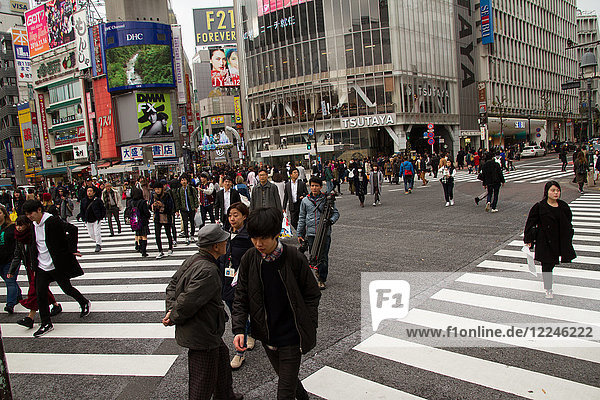 Shibuya crossing  the worlds busiest intersection  Tokyo  Japan  Asia