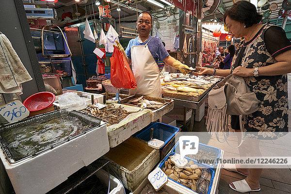 Wet fish and seafood shop  Hong Kong  China  Asia