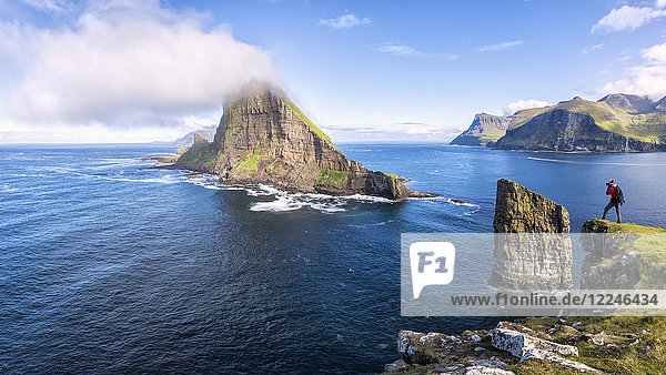 Panoramic of the sea stacks of Drangarnir and Tindholmur islet  Vagar Island  Faroe Islands  Denmark  Europe
