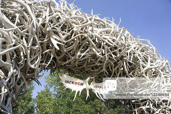 Large arch made of elk antlers  Jackson Hole  Wyoming  United States of America  North America