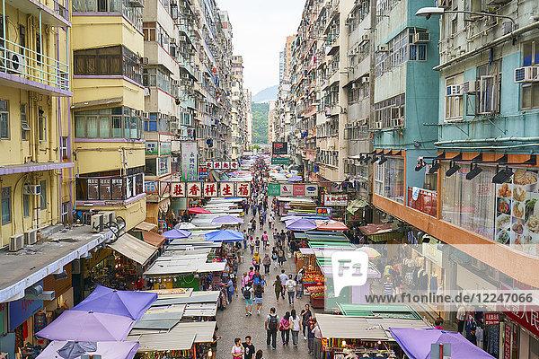 A busy market street in Mong Kok (Mongkok)  Kowloon  Hong Kong  China  Asia