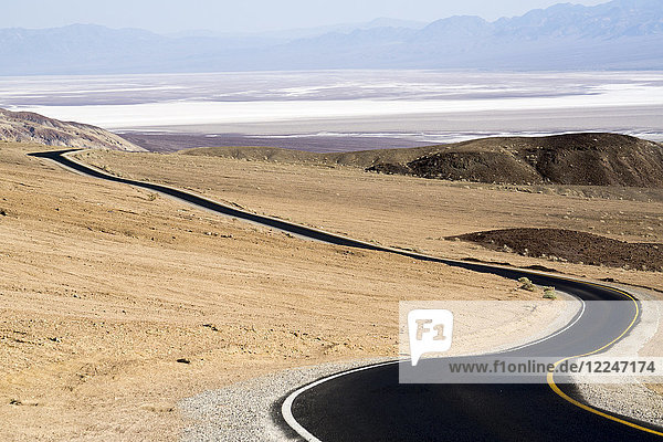 Black tarmac road  Death Valley National Park  California  United States of America  North America
