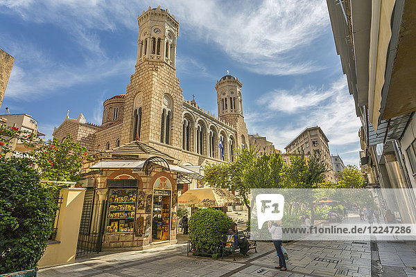 View of St. Irene Orthodox Church and souvenir shop  Monastiraki District  Athens  Greece  Europe