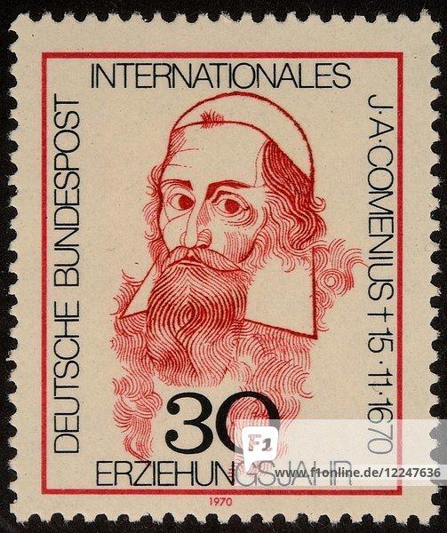 Johan Amos Comenius  tschechischer Philosoph  Pädagoge und Theologe  Porträt auf einer deutschen Briefmarke aus dem Jahr 1970