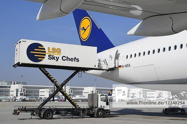 Catering Abfertigung durch LSG Sky Chefs  Lufthansa Airbus A350-900  hinten Terminal 2  Flughafen München  Oberbayern  Deutschland  Europa