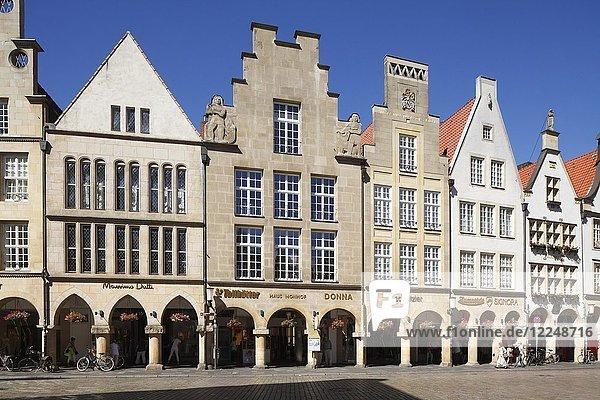 Giebelhäuser am Prinzipalmarkt  Münster  Nordrhein-Westfalen  Deutschland  Europa