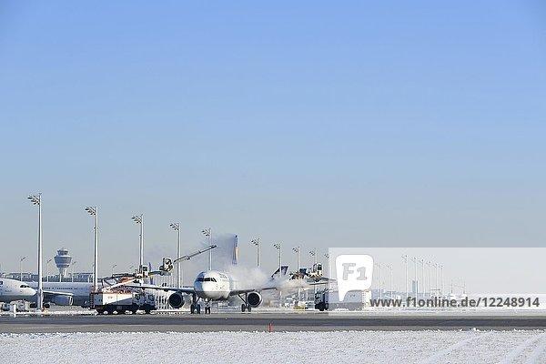 Flugzeugenteisung  Lufthansa  Airbus A 321  Flughafen München  Oberbayern  Deutschland  Europa