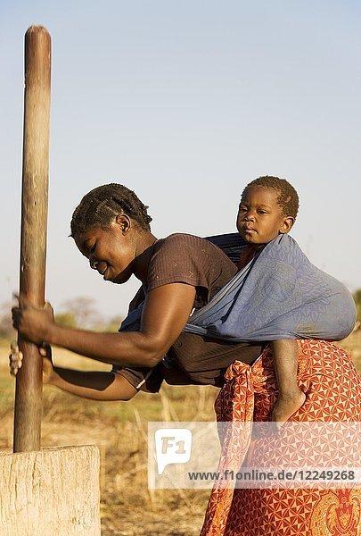 Tonga-Frau mit Kind auf dem Rücken  stampft Getreide  Lake Kariba  Sambia  Afrika