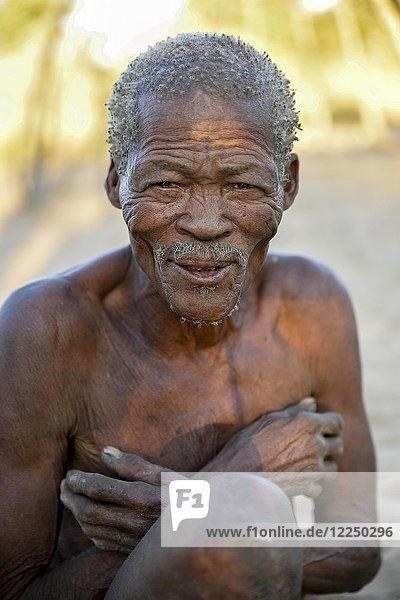 Älterer Buschmann  Portrait  Ethnie der Ju/'Hoansi-San  Dorf //Xa/oba  bei Tsumkwe  Otjozondjupa Region  Namibia  Afrika