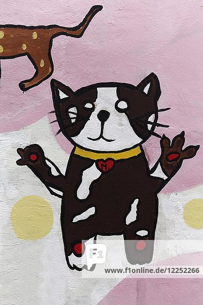 Lustige Katze  Graffiti  Sathon  Bangkok  Thailand  Asien
