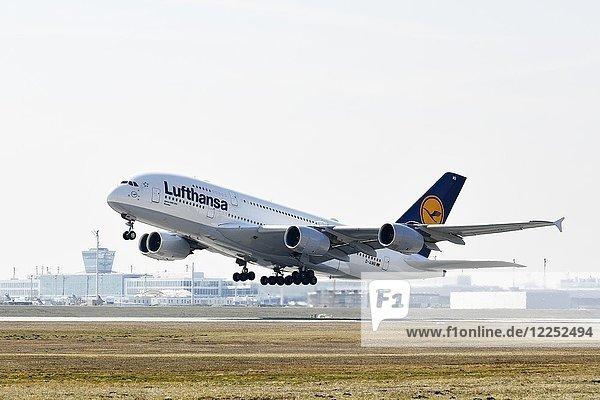 Airbus  A380-800  Lufthansa  Start  Startbahn Nord  hinten Tower  Flughafen München  Oberbayern  Bayern  Deutschland  Europa