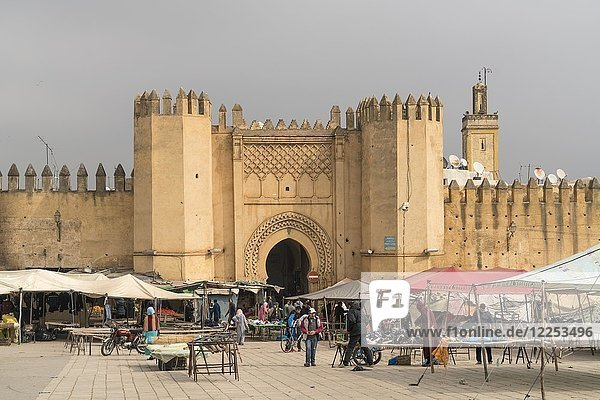 Market in front of Bab Chorfa  Fez  Morocco  Africa
