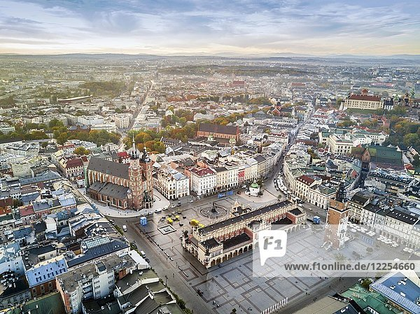 Aerial view of historic market square at sunrise  Krakow  Poland  Europe