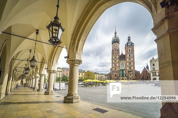 Cloth Hall and St. Mary's Basilica on main Market Square in Krakow  Poland  Europe