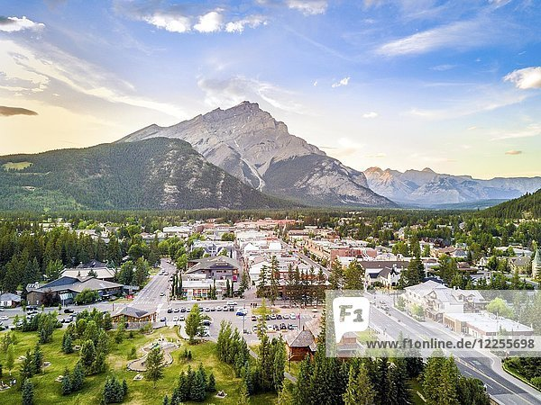Cityscape of Banff in canadian Rocky Mountains  Alberta  Canada  North America