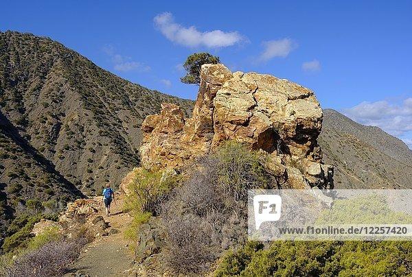 Felsformation  Frau wandert auf Wanderweg  Tamargada bei Vallehermoso  La Gomera  Kanarische Inseln  Spanien  Europa