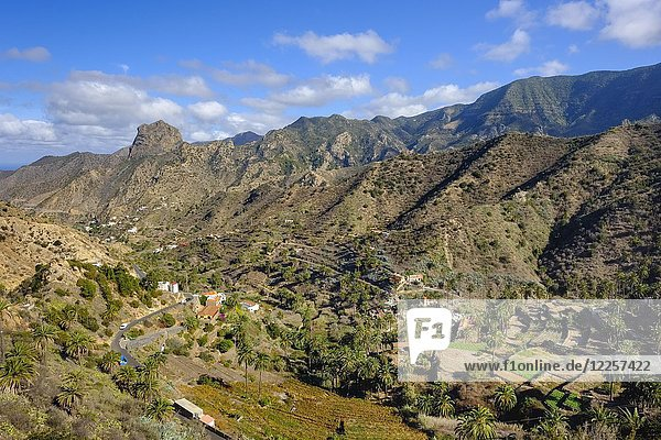 Vallehermoso with Roque Cano  La Gomera  Canary Islands  Spain  Europe