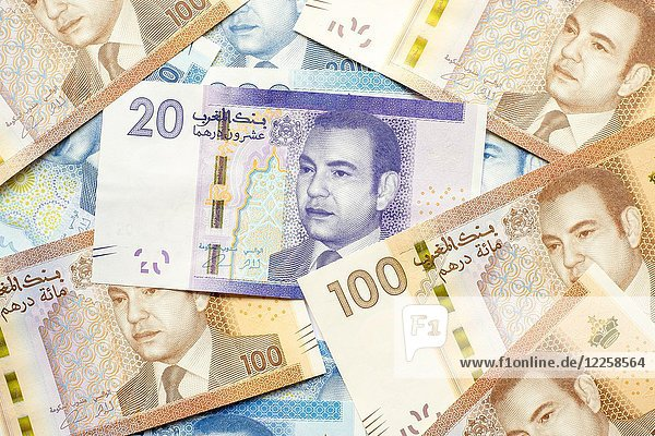 Marokkanische Dirham-Währung  Geld  verschiedene Stückelungen Dirham-Noten  Scheine