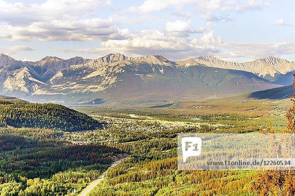 View of Jasper with mountains in autumn  Jasper National Park  Alberta  Canada  North America
