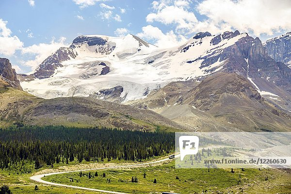 High mountains with glacier next to road  Jasper National Park  Alberta  Canada  North America