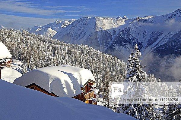 Winterlandschaft mit verschneitem Chalet  Bettmeralp  Aletschgebiet  Oberwallis  Wallis  Schweiz  Europa