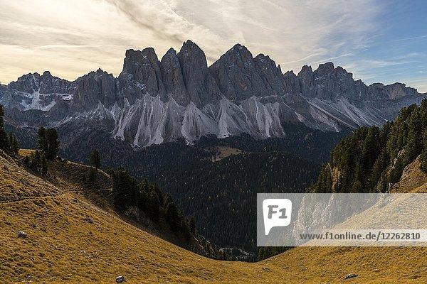 Gipfel der Geislerspitzen im Herbst  Villnößtal  St. Magdalena  Südtirol  Italien  Europa