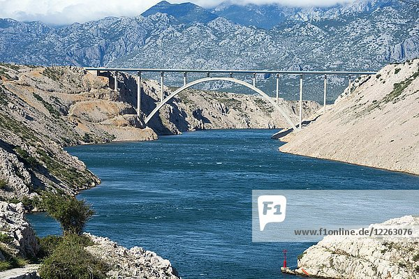 Brücke Paski Most  Pag-Brücke  Insel Pag  Dalmatien  Kroatien  Europa