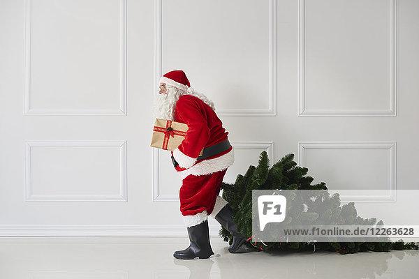 Weihnachtsmann mit Weihnachtsbaum und Geschenk