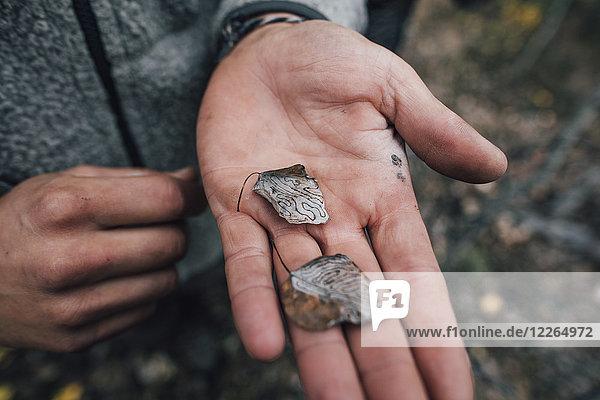 Clanada  Nahaufnahme eines Mannes mit Birkenblättern
