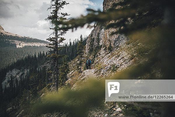Kanada  British Columbia  Yoho Nationalpark  zwei Männer beim Wandern am Mount Burgess