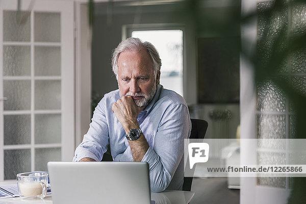Porträt eines reifen Mannes mit Laptop zu Hause