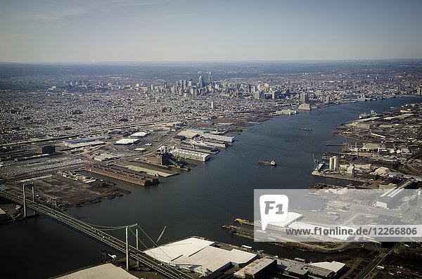 USA  Philadelphia  Delaware River  aerial view