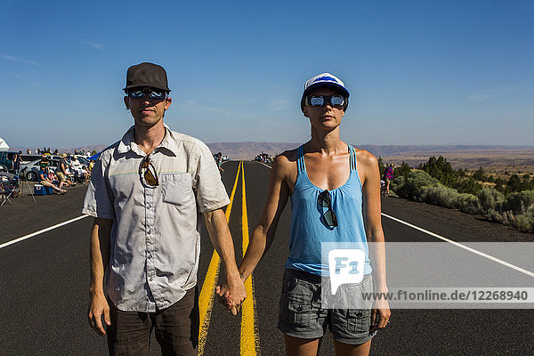 Couple waiting to watch solar eclipse  August 8  2017  Maupin  Oregon  USA