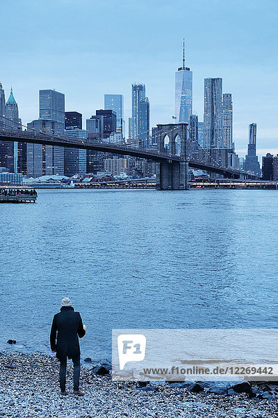Man looking out over Brooklyn Bridge and Lower Manhattan Skyline from riverbank  New York  USA