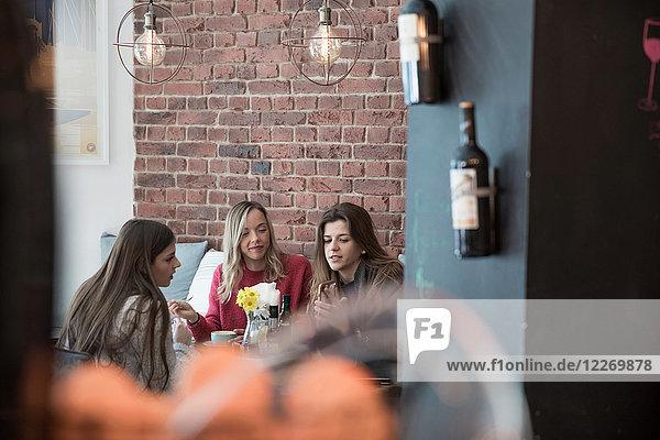 Freundinnen sitzen zusammen im Cafe und schauen auf das Smartphone