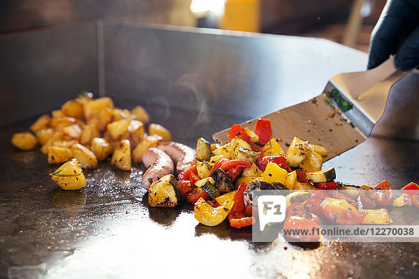 Food preparation on flat top grill