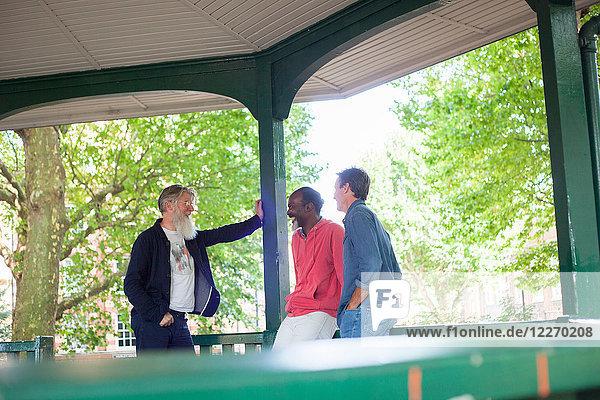 Drei reife Männer  stehen unter Bandstand  reden