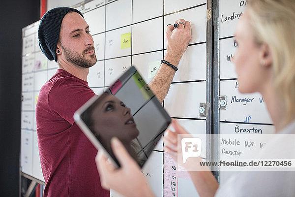 Kollege und Kollegin planen Ideen am Whiteboard im Büro  Blick über die Schulter