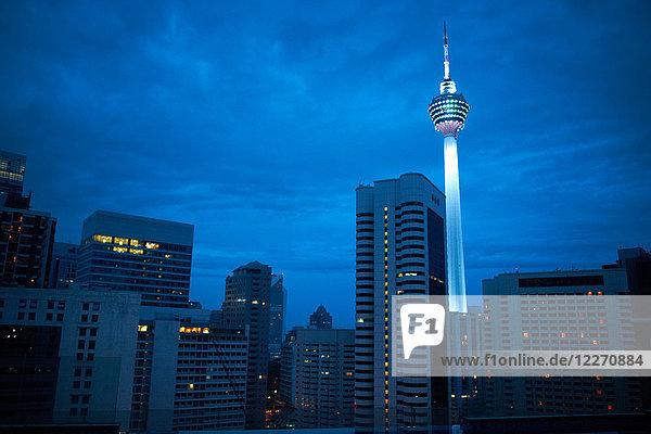 Kuala Lumpur tower illuminated at night  Kuala Lumpur  Malaysia