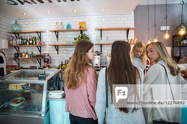 Drei Freundinnen  am Tresen im Café stehend  Rückansicht