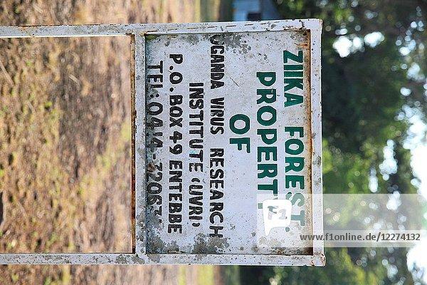 Uganda virus research institure sign in Zika forest  Uganda. Uganda