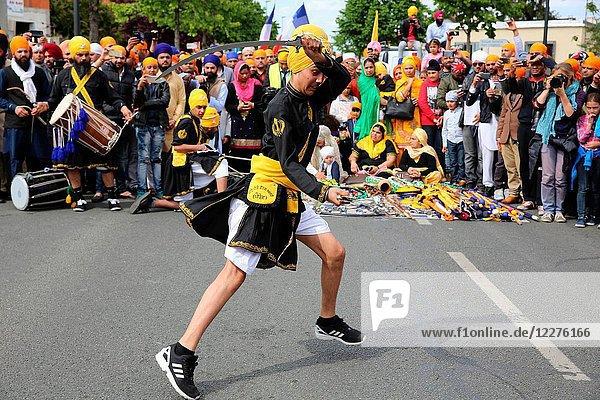 Sikhs celebrating Vaisakhi festival in Bobigny  France. Martial arts.